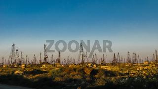 Mining on the oil fields near Baku, Azerbaijan