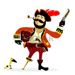 Illustration of cartoon pirate vector isolated on white