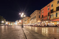 Piazza Bra in Verona, Italy at night