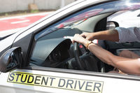 Driving school. Learning to drive a car.