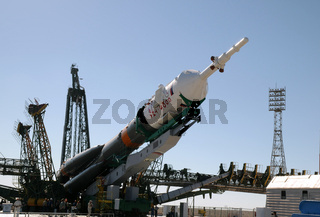 Soyuz Rocket Erection on the Launch Tower