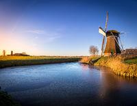 Windmill de Meervogel at winter afternoon