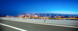 cityscape and skyline of chongqing from empty road
