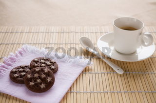 A tasty breakfast with italian coffee and biscuits
