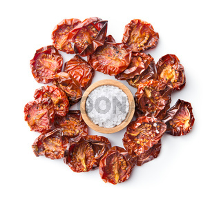 Tasty dried tomatoes and salt.