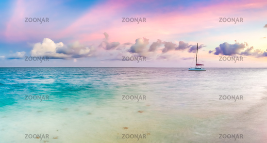 Pointe d'Esny beach at sunset, Mauritius. Panorama