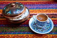 A cup of turkish coffee on the table