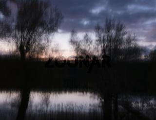Sonnenuntergang in der Uckermark, Brandenburg, Deutschland