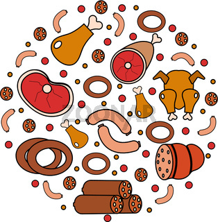 Meat and sausages icon set in round shape, a modern line style. Fresh   isolated on  white background.  products, food. Vector illustration