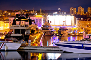 City of Rijeka yachting waterfront evening view