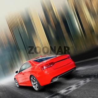 Ein rotes Sport Auto fährt über die Ziellinie