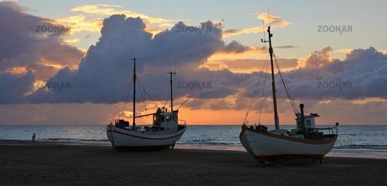Moody sky over the Jammerbugten, Denmark. Sunset scene at Slettestrand.