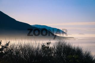 Foggy westcoast on highway number 1 in california, USA