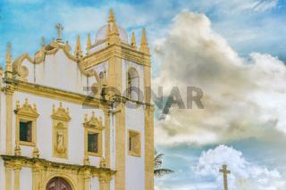 Exterior Facade Antique Colonial Church Olinda Brazil