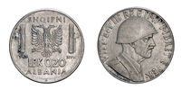 twenty 20 cents LEK Albania Colony acmonital Coin 1940 Vittorio Emanuele III Kingdom of Italy,World war II