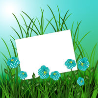 Sheet with flowers on blue nature background
