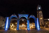 nightshot of illuminated portas da cidade in ponta delgada