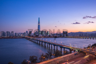 Seoul city skyline with view of Han River in South Korea