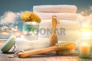 White towels with bath accessories at the beach