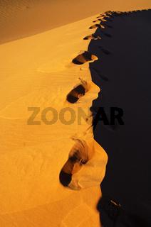 Verrwehte Spuren auf dem Grat eine Sanddüne