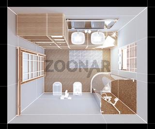 3D interior rendering a modern bathroom