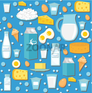 Dairy product seamless pattern. Flat style. Milk products background.  and Cheese texture. Farm Foods endless backdrop. Vector illustration