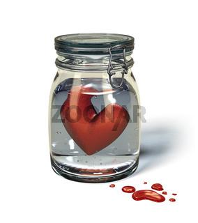 Liebesschmerz. Herz im Glas