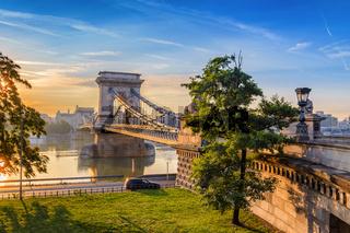 Budapest Chain Bridge and city skyline when sunrise, Budapest, Hungary