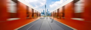 cityscape and skyline of guangzhou from empty brick floor