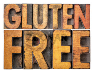 gluten free banner in wood type