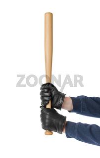 Hands with baseball bat