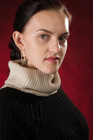 woman in a black sweater