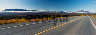 Mountains To Tundra Valley View Two Lane Highway Alaska United States