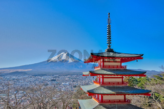 Mt. Fuji with Chureito red pagoda in kawaguchiko, Japan