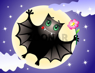 Cute bat congratulating you with halloween