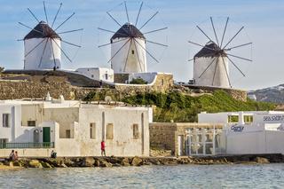 traditional Greek windmills Mykonos Greece