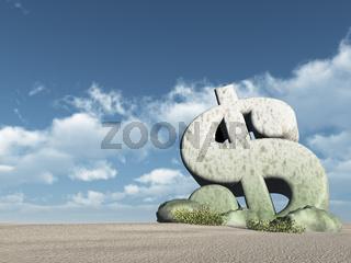 dollarsymbol aus stein in der wüste - 3d rendering