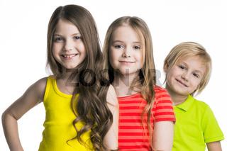 Three children on white