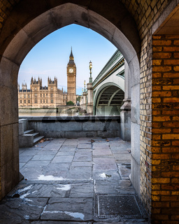 Big Ben, Queen Elizabeth Tower and Westminster Bridge framed in Arch, London, United Kingdom