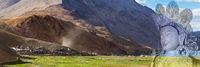 Double exposure panorama of Korzok monastery, village and Buddha Maitreya