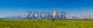 Panorama landscape - Teton mountains in Wyoming, USA.