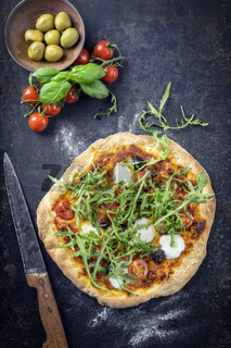 Pizza Caprese on old Sheet