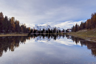 Antorno lake with Sorapis mountain group in the morning reflected in lake