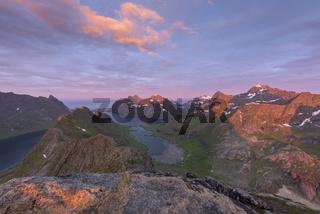 Abendstimmung, Kjerkfjorden und Bunesfjorden, Moskenesoeya, Lofoten