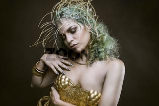 Folklore, Deity, beautiful woman with green hair in golden goddess armor. Fantasy warrior