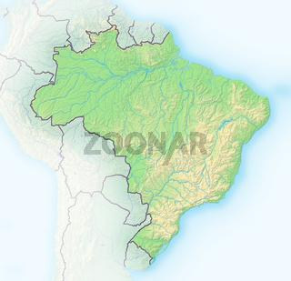 Brasilien, Reliefkarte.