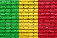 flag of Mali painted on brick wall