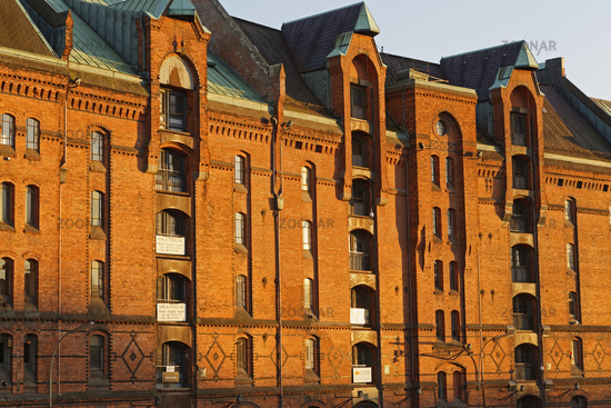 Alte Lagerhallen in der Speicherstadt, Hamburg, Deutschland, Europa