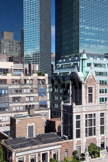 Densely-packed buildings in East Midtown Manhattan near Tudor City and the UN in New York