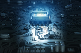 Computer motherboard with CPU. Circuit board system chip with core processor. Computer technology background.